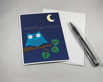 Owl Love Card, Owl Love You Forever, Anniversary Card for Him, Card for Her, Love Card for Friend, Paper Handmade Card, Valentine's Love