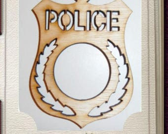 Police Ornament - Laser Cut Wood