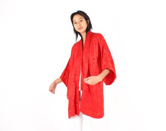 Chinese Matte Soft SILK Ruby Red Embossed Blossom Bell Sleeve Kimono Jacket / Robe / Duster