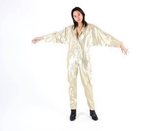 80s METALLIC Lamé GOLD Silk & Lurex David Bowie Loose Batwing STUDIO 54 Disco Tuxedo Jumpsuit / Boiler Suit / Onesie