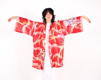 Cute 80s Red Japanese Blossom Village Cartoon Printed Red Satin Kimono Robe / Duster - Made in Kyoto, Japan