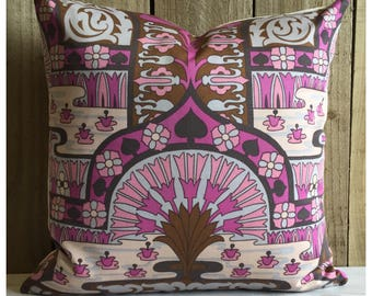 Cushion Cover Vintage 1970s  Water Garden Fabric David Bartle MCM Pillow Cover Bohemian
