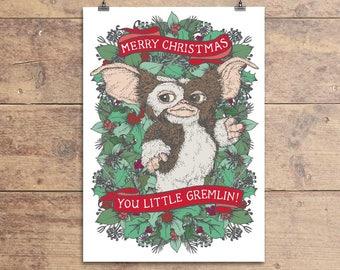 Gremlins Christmas Card - Gizmo Christmas Card - Gremlins Movie Film Greeting Card - 80s Movie Xmas Card - Gremlins Mogwai Xmas Card