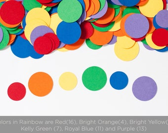 Circle Confetti - Rainbow Party  - Baby shower Decoration - Birthday Decoration - Rainbow Baby Shower