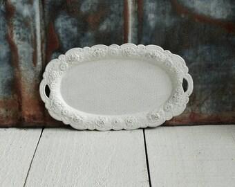 Ornate Vintage Hand Painted Metal Tray, Rose Details