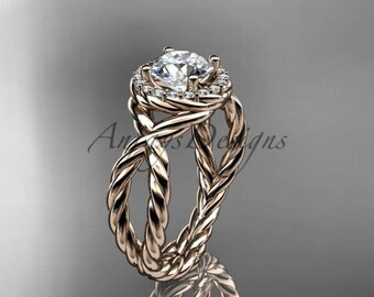 "14kt rose gold rope halo diamond engagement ring with a ""Forever One"" Moissanite center stone RP8127"