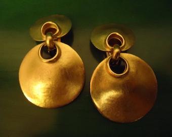 Vintage Matte Gold Percussion Drop Dangle Clip Earrings