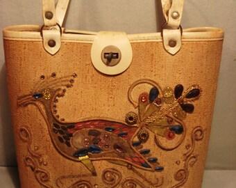 Vintage 1960 Beige Peacock Bucket Handbag