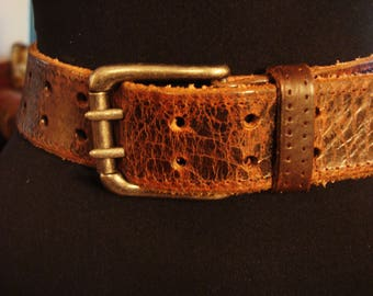 Vintage 1990s OLD NAVY Brown Distressed Leather Texas Style Belt