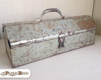 Rusty & Chippy Metal Tool Box | industrial tool box | storage tool box | distressed metal | vintage farmhouse