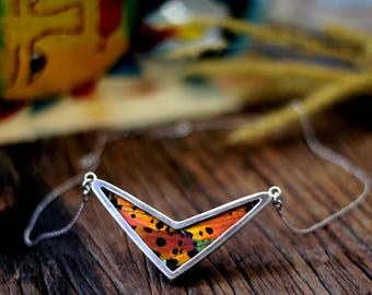 Butterfly wing necklace Arrow necklace Gift insect jewelry Chevron necklace Mom day necklace Sunset moth necklace Women insect jewelry