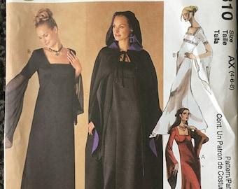 McCalls 2810 Evening Elegance Renaissance Gothic Dress Cape Sewing Pattern Size 4 6 9 Uncut FF