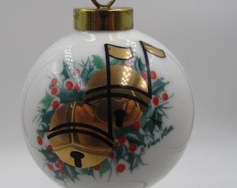 Vintage NOS 1994 Gold Musical Christmas Bells Ornament, Limited Edition 1992 Signed Musical Christmas Bells Ornament, Christmas Collectible,