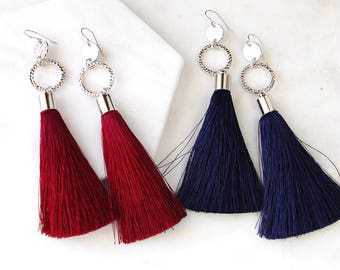 BURGUNDY or NAVY Tassel COIN Statement Earrings - silk tassels silver or gold  - Next Romance Jewels Melbourne Australia boho luxe