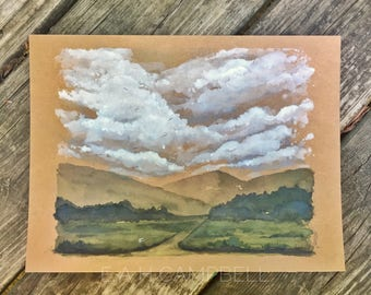 Original Watercolor Landscape Painting 8x10 Mountains and Field- Rain Over Route 33 - by Em Campbell