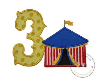 Circus tent with a western font number 3 iron on applique, embroidered fabric circus theme third birthday party, ready to ship