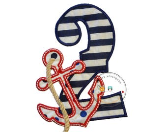 Nautical blue and white  birthday number 2 with anchor iron on applique, 2nd birthday number with anchor embroidered iron on patch