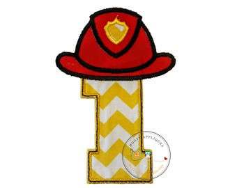Fireman hat with Chevron number one- iron embroidered fabric applique patch embellishment- ready to ship