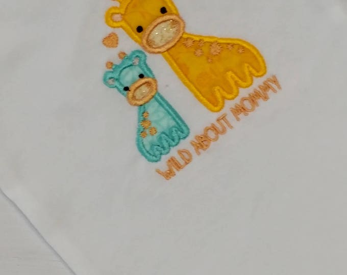 Wild about mommy, momma and baby giraffe, yellow and blue baby body suit embroidered details- Pre-made, Ready to ship