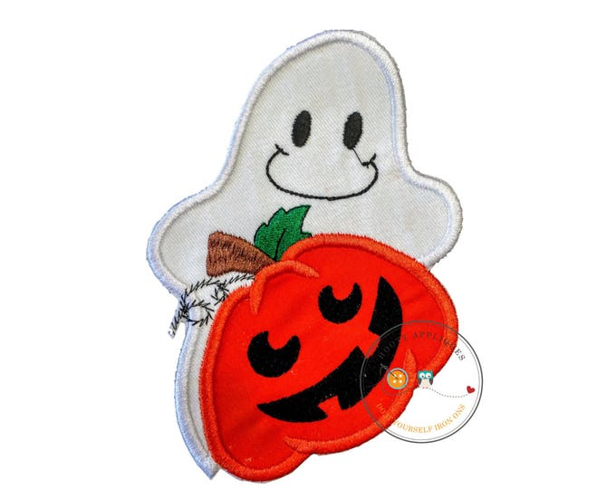 Large hallowee ghost with pumpkin - iron embroidered fabric applique patch embellishment- ready to ship