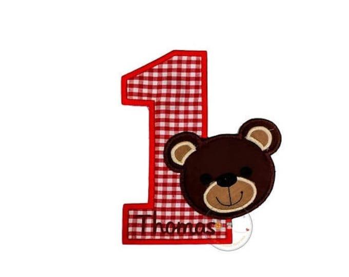 Boy Teddy bear red gingham birthday number one