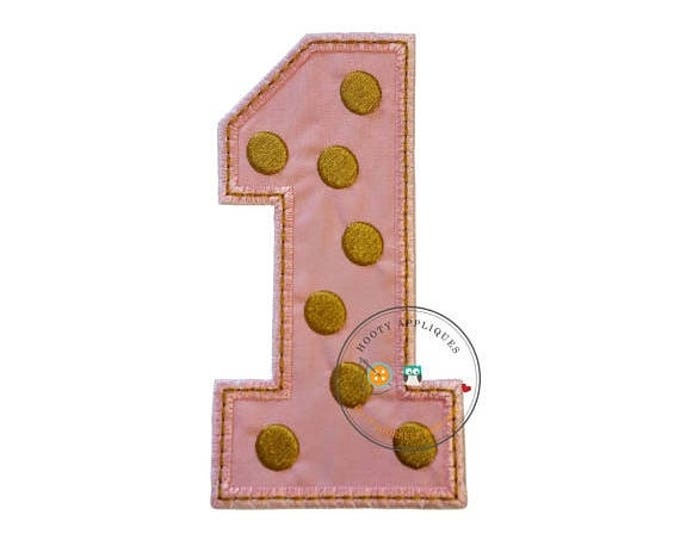ON SALE NOW Gold and rose pink birthday number one iron on applique, Rose pink fabric iron on number 1, gold embroidered iron on patch birth