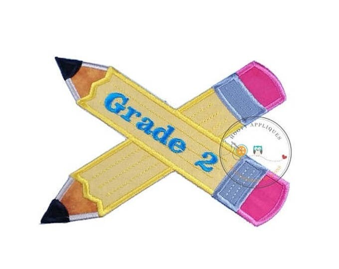ON SALE NOW Large 2nd grade pencils- back to school - Iron embroidered fabric applique patch embellishment-ready to ship