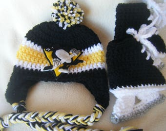 Crocheted Pittsburgh Penguins Hockey Hat and Ice Skate Set - These Are Made to Order