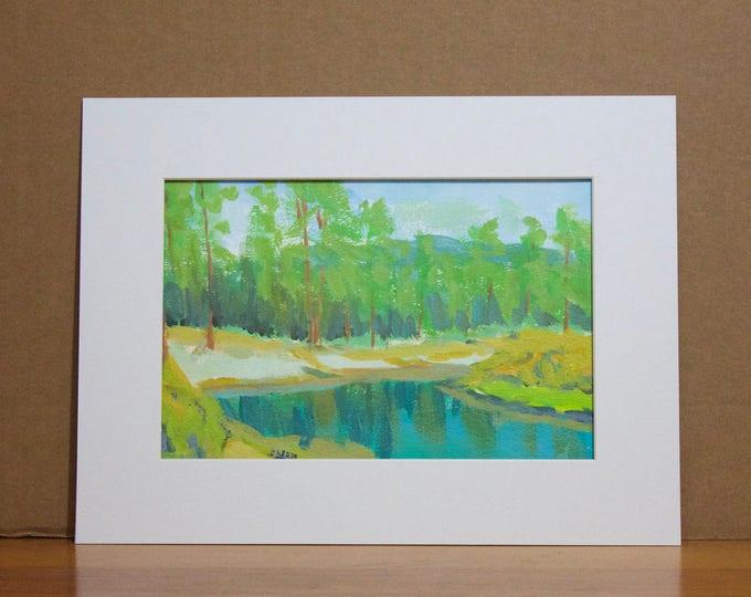 Landscape Painting Deschutes River Bull Bend CG Gouache Paper