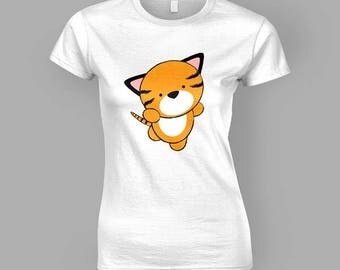 Cute Tiger T-Shirt (Womens Fitted)