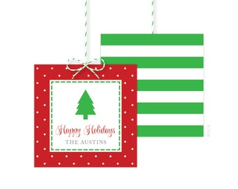 Christmas Gift Tags - Holiday Gift Tag - Holiday Party Favor Tags - Christmas Party Tags - Printed or Printable - Free Shipping