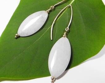 Light Lavender Jade Earrings, Jade Jewelry, Jadeite Earrings, Marquise Shaped, White Lavender Jade Jewelry, Natural Lavender Jade Earrings