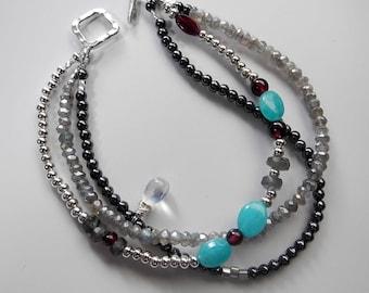 Labradorite Moonstone Bracelet, Amazonite Bracelet, Three Strand Bracelet, Moonstone Bracelet, Stone of Protection, Healing, Calming