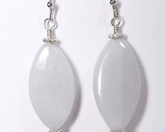 Light Lavender Jade Earrings, Jade Jewelry, Jadeite Earrings, Natural Lavender Jade Earrings, Marquise Shaped, White Lavender Jade Jewelry