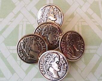 5 Unusual Vintage Metal Buttons With Julius Caesar Motif