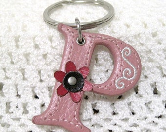 P  Key Chain, Letter P,  Pink Floral,Free Shipping,  Pink Flower, Leather P, Paula, Pat, Patricia, Pauline, Patsy