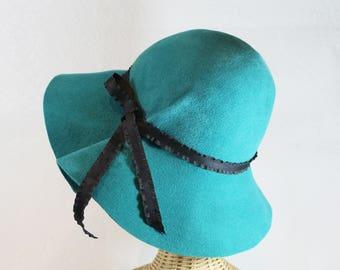 Wide Brim Hat in Teal Blue Velour Felt ~ Marlene ~ women's rain hat, 70s floppy ~ handmade by Bonnet, your local Portland millinery