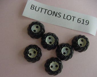 6 Small Black White Buttons, Look Like Tires, Plastic, 2 Hole, Sewing, Scrapbooking, Embellishments, Collage, Inspiration, Buttons Lot 619