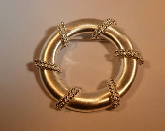 Silver and Rhinestone Circle Brooch