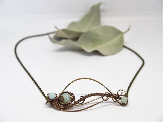 Amazonite leaf necklace Horizontal Bar wire wrapped Nature jewelry Leafy Statement Gemstone Anniversary gift for her Mother Mom