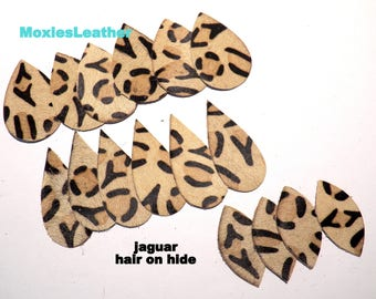 Earrings hair on leather jaguar earrings teardrop 16 pieces - LOT #355  animal print leather earrings, leopard print
