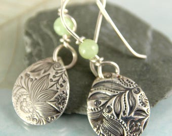 Petal Drop Earrings with Spring Green Flower Jade - Fine Silver Textured with a Fairytale Garden