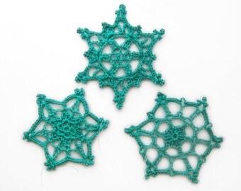 Aquamarine Lace Snowflake Ornaments Set of 3 - Christmas Holiday Decor Modern Colorful Crochet Teal Blue-Green Aqua