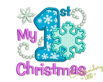 My first Christmas Applique Machine Embroidery Design CHR059