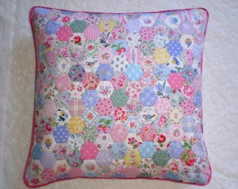 Patchwork Cushion Cover - Hexagons in Laura Ashley & Cath Kidston Fabrics