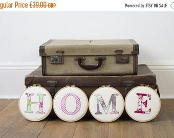 ON SALE Home letter embroidery hoop art - New home gift - Home appliqué - Home decor - Home textile art - Embroidery hoop art - Wall art