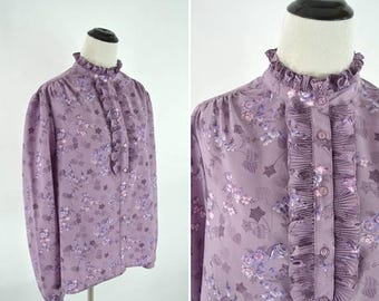 SUMMER SALE Vintage 70s 80s Purple Floral Print Secretary Blouse - Lavender Dress Shirt - High neck Ruffle Statement Blouse - Ladies size la