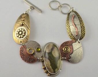 Mixed Metal Bracelet - Jasper Bracelet - Metalsmith Bracelet - Artisan Jewelry