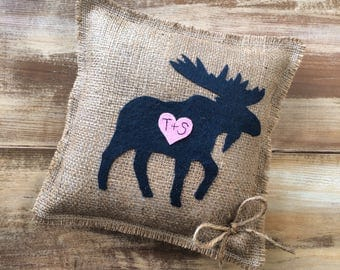 """10"""" x 10"""" Burlap Ring Bearer Pillow w/ Moose-Personalize w/ Initals-Custom Colors Available- Rustic/Country-Wedding Ceremony-Woodland"""