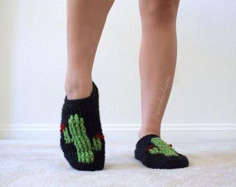 CUSTOM - Cactus Slippers - reading slippers - cozy women's sock - cacti socks - succulent slippers - handmade slippers socks - reading socks